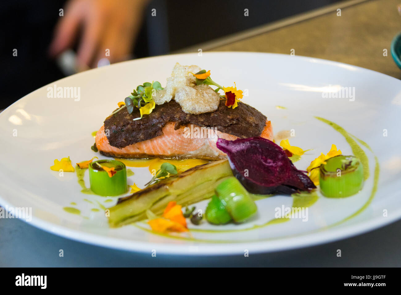 Koji-cured wild sockeye salmon at Nomad restaurant, Vancouver, Canada - Stock Image