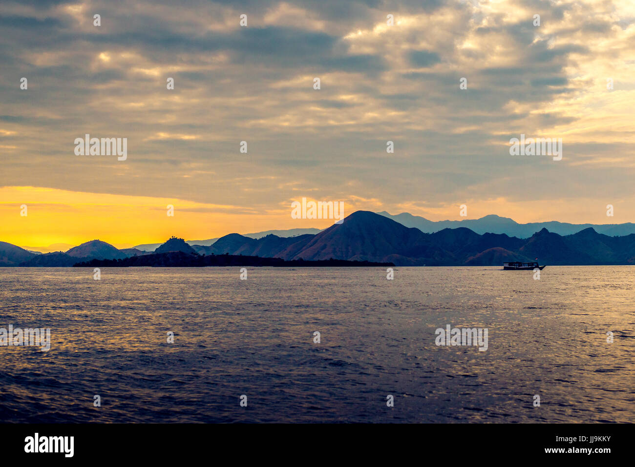 Labuan Bajo Komodo National Park Indonesia Sunset - Stock Image