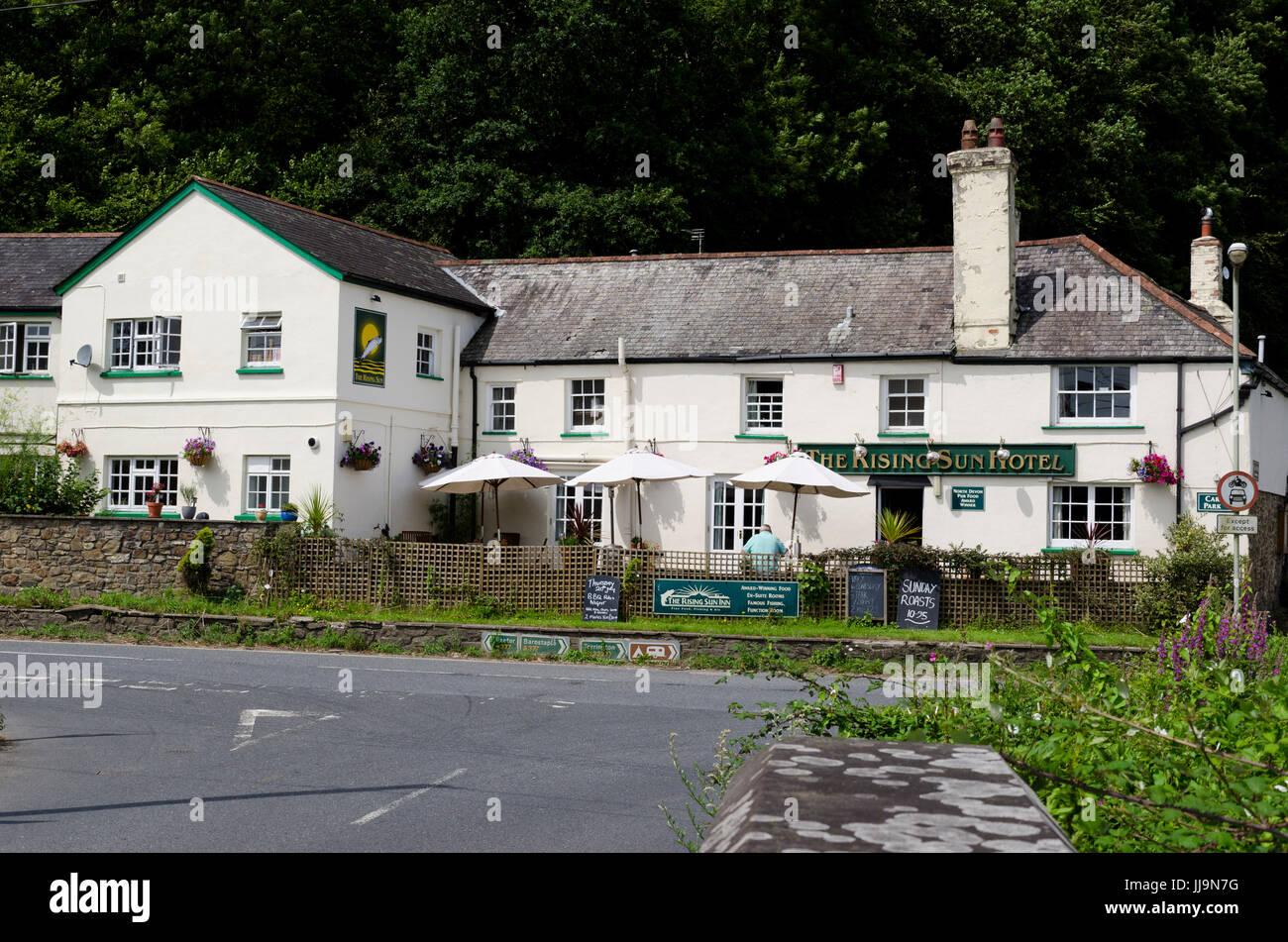 Umberleigh Devon. The Rising Sun Hotel pub. - Stock Image