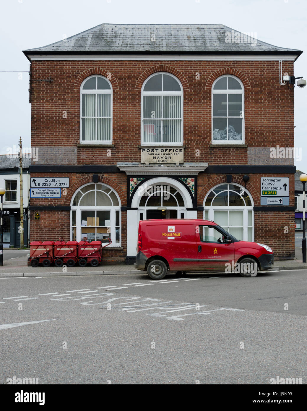 Post office and Royal Mail van, South Molton, Devon - Stock Image