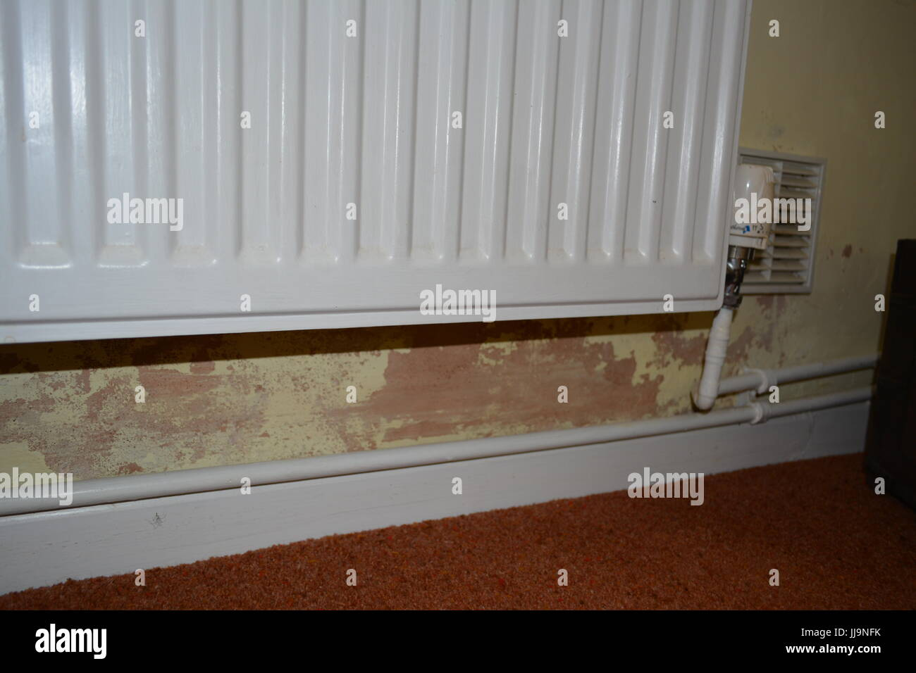 Rising damp on inside wall of old house re peeling paint poor stock rising damp on inside wall of old house re peeling paint poor decoration dpc dpm damp proof course membrane radiator ventilation heat heating pipes solutioingenieria