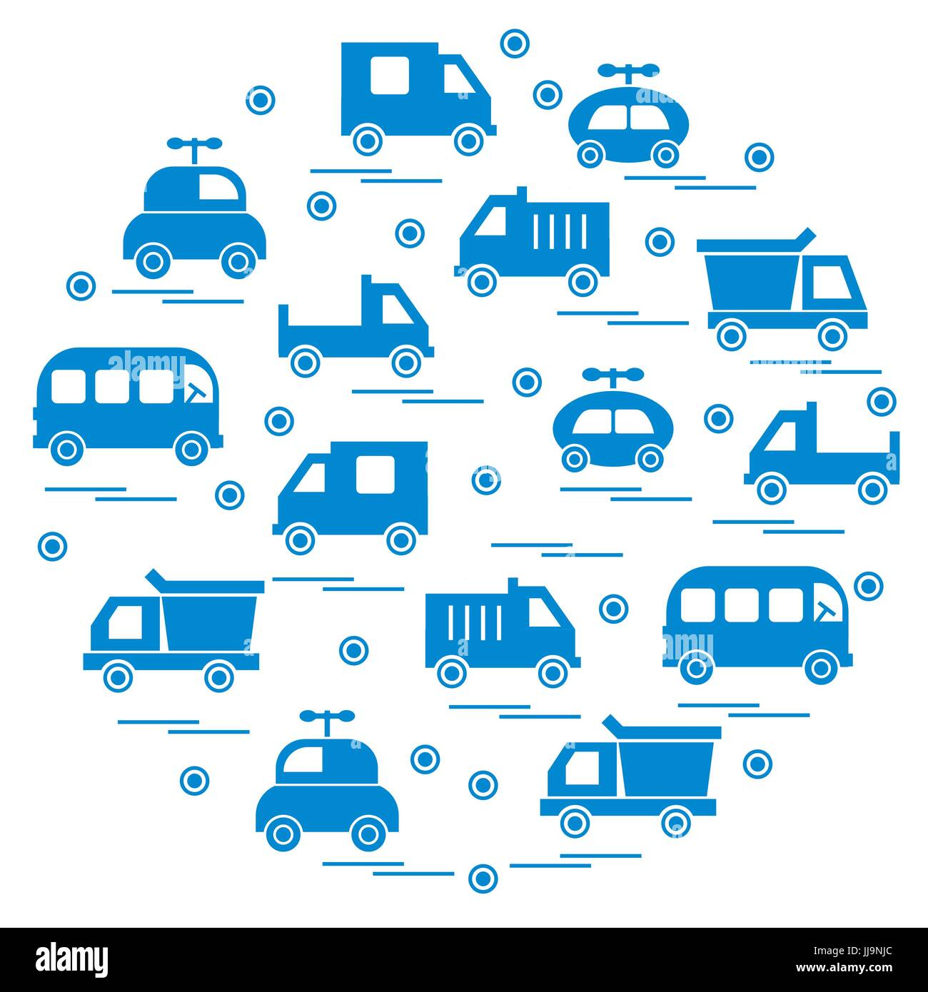 Cute vector illustration with baby cars arranged in a circle. Design for poster or print. - Stock Image