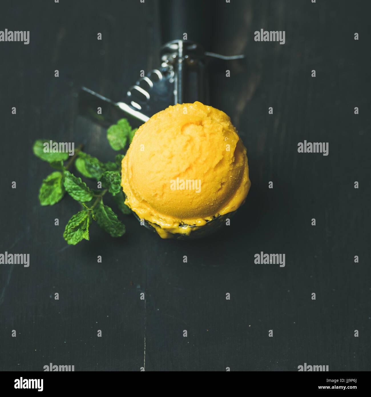 Mango sorbet ice cream scoop in scooper, square crop - Stock Image