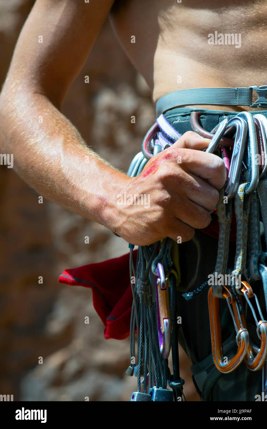 A close up of a climber's hand grabbing gear while climbing a route in Todra Gorge in the Atlas Mountains of Morocco - Stock Image
