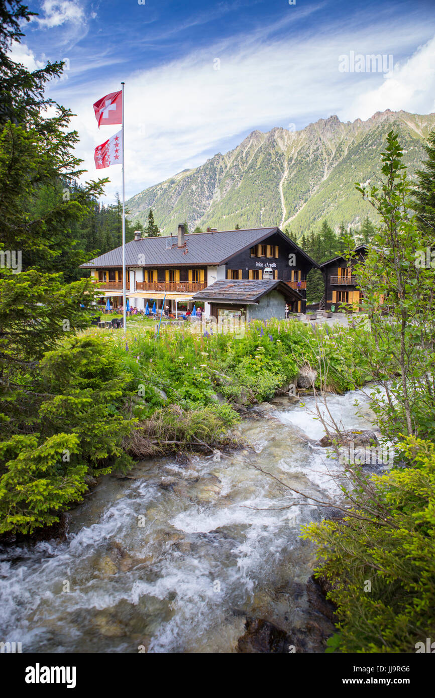 The Relais d'Arpette, a mountain hut near Swiss Champex, on the Tour du Mont Blanc, a classic multi day hike - Stock Image