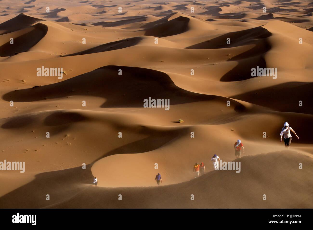 People exploring Erg Chebbi dunes, Morocco, North Africa - Stock Image