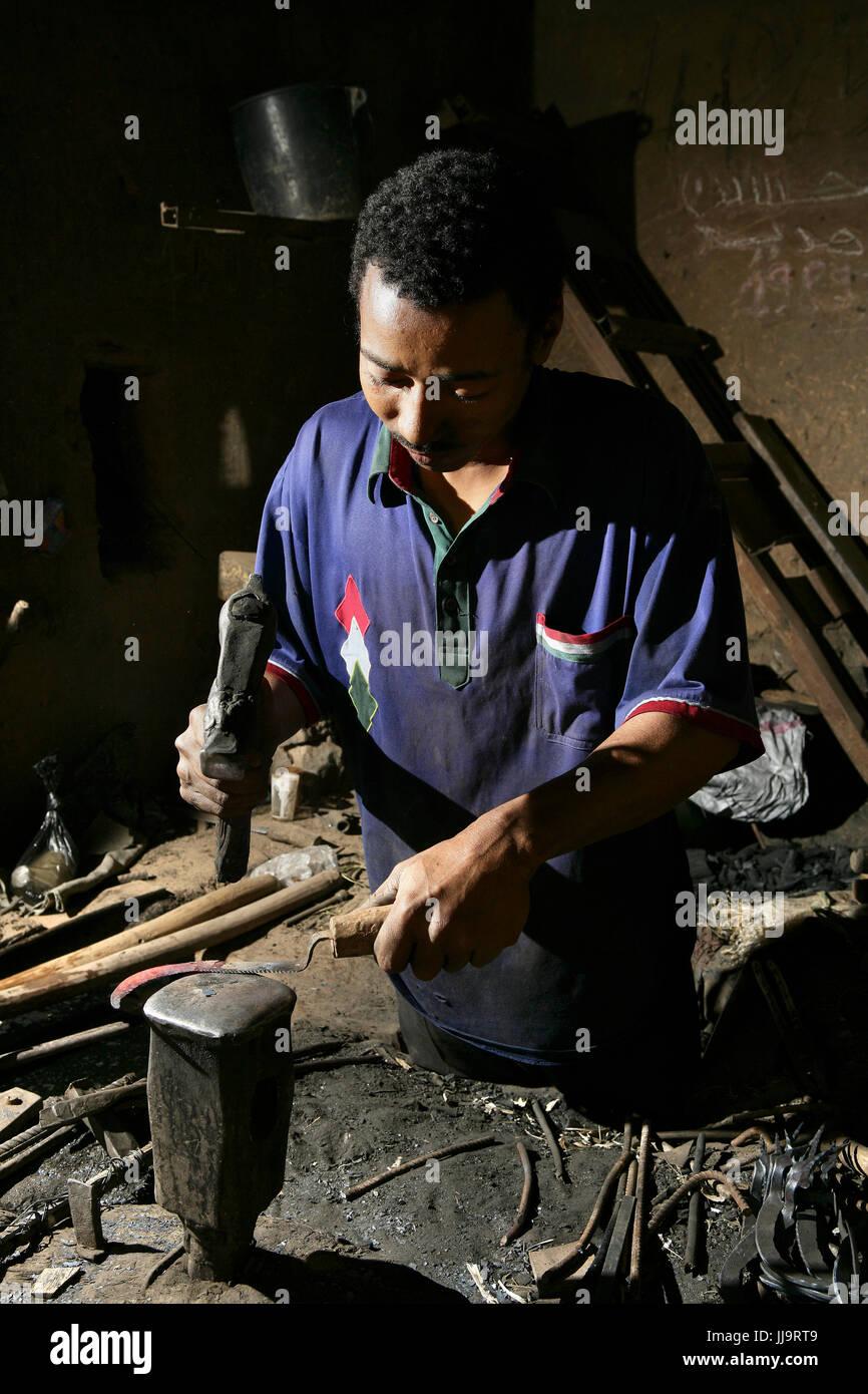 Morocco, Souss Massa Draa region, Zagora, Amezrou,Old style jewelry artisan hand made following the jewish tradition - Stock Image