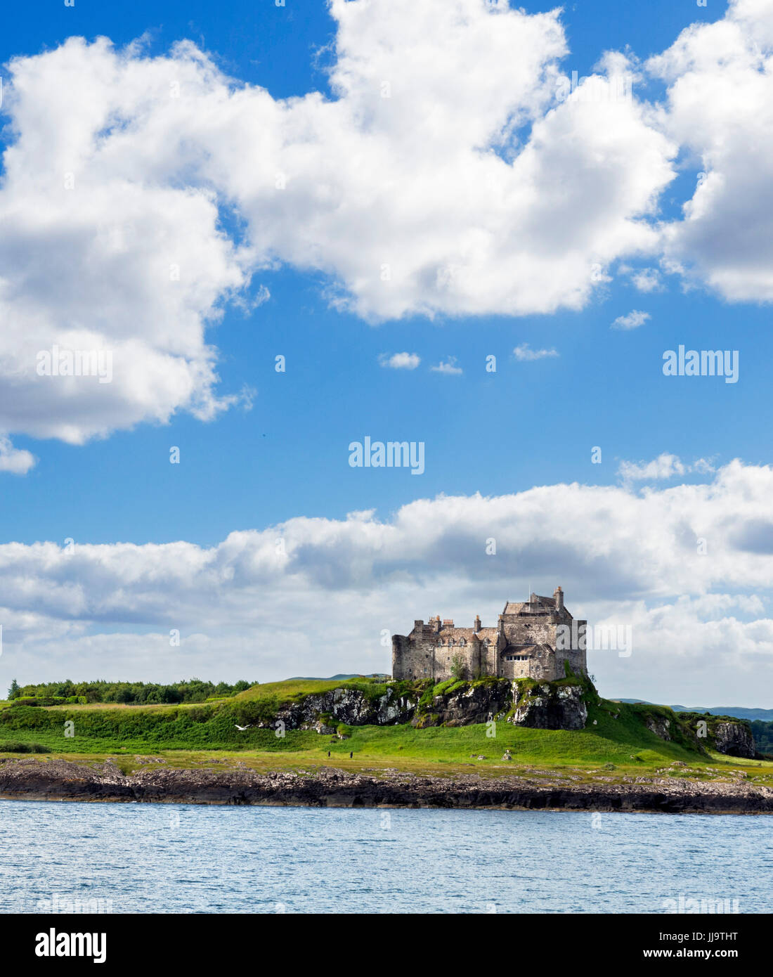 Duart Castle from the Oban Ferry, Isle of Mull, Argyll and Bute, Scotland, UK - Stock Image