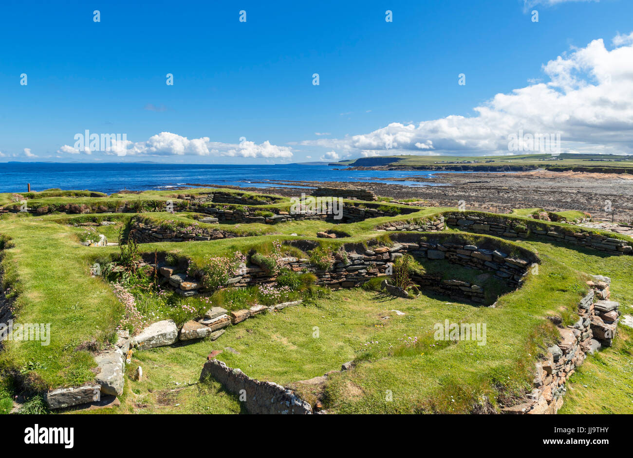 Remains of a Viking settlement from around 1000 AD, Brough of Birsay, Mainland, Orkney, Scotland, UK - Stock Image