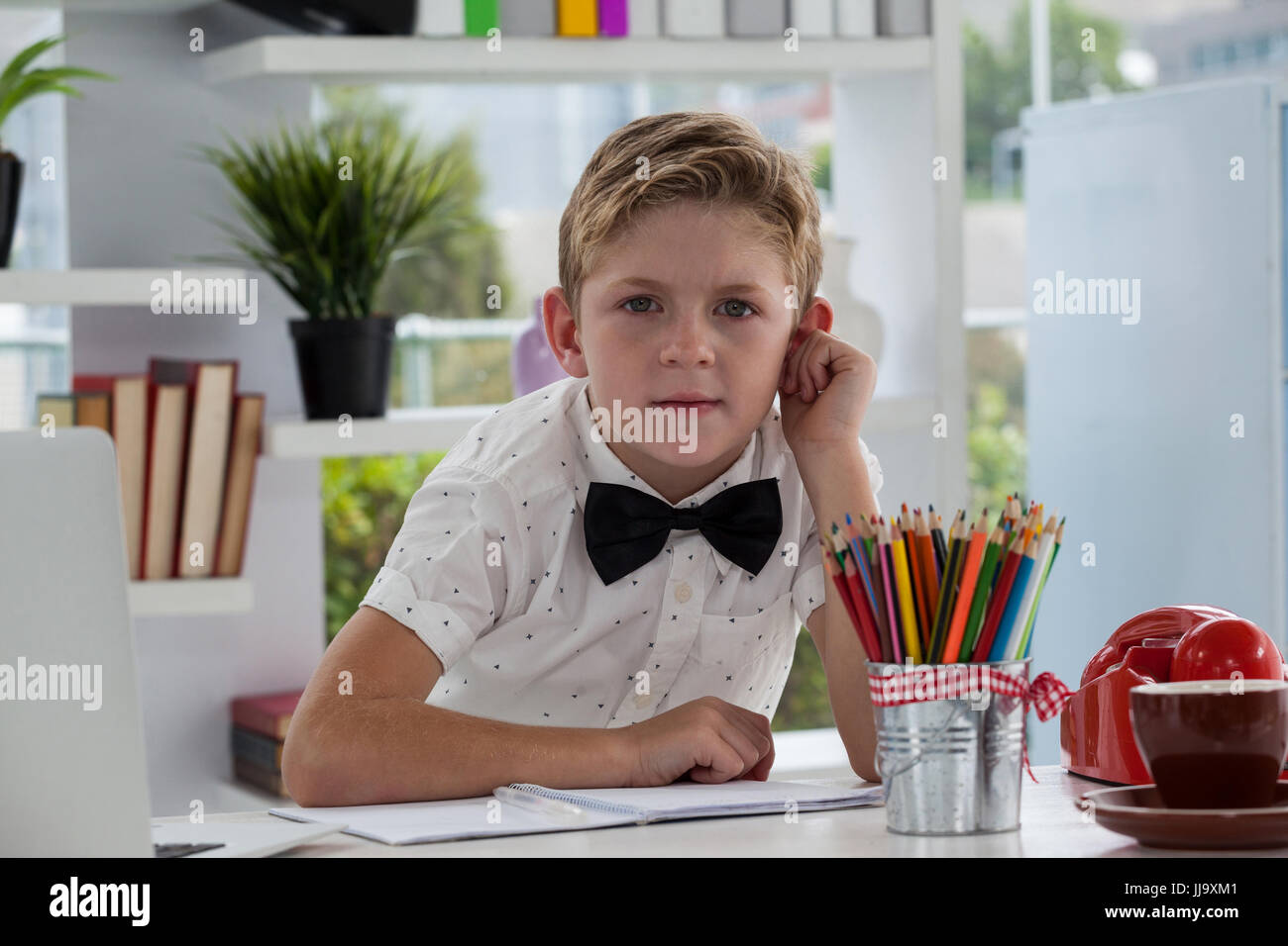 Portrait of businessman making report at desk in office - Stock Image
