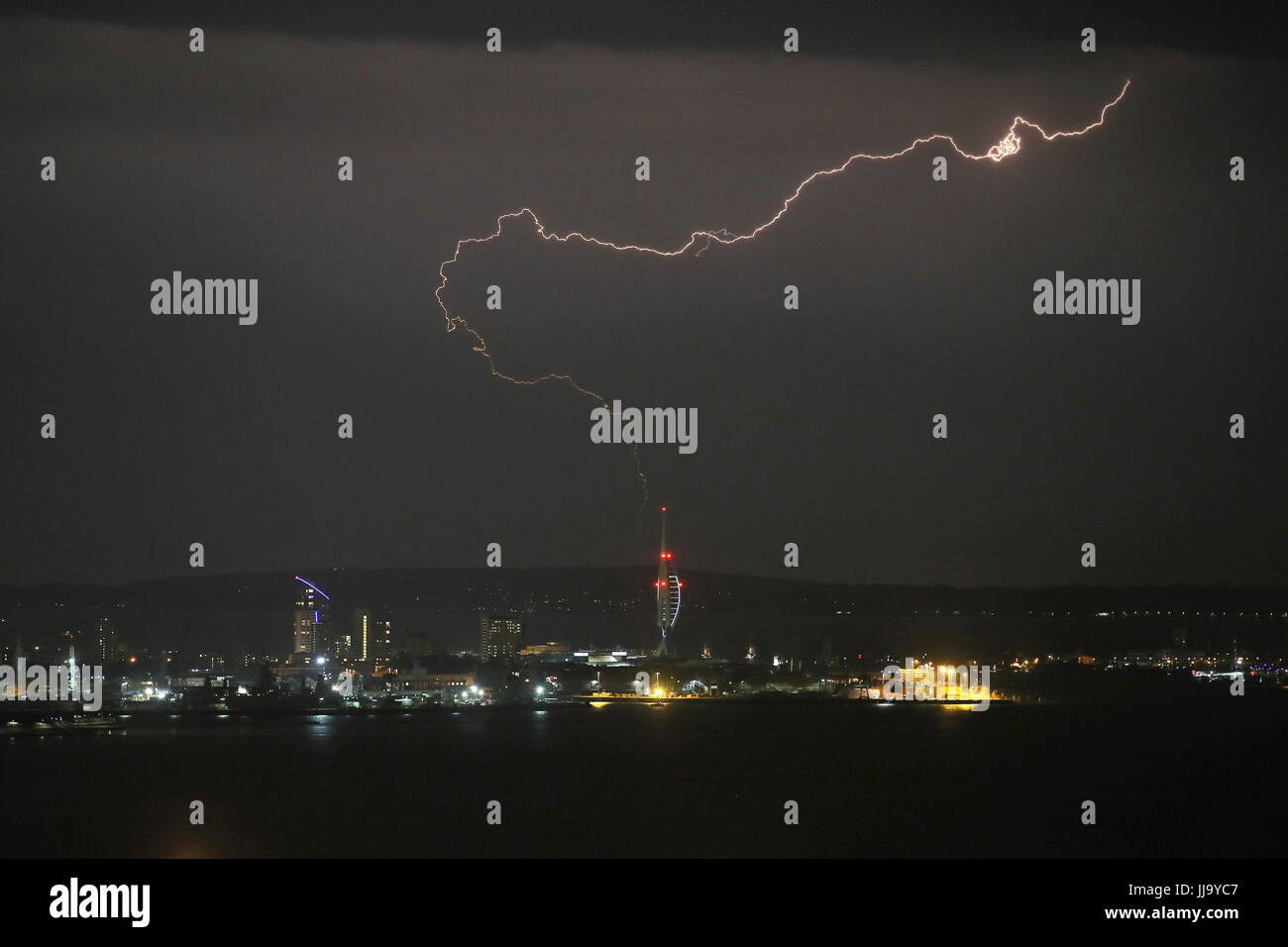 A lightning bolt over the Spinnaker Tower, Portsmouth. Stock Photo