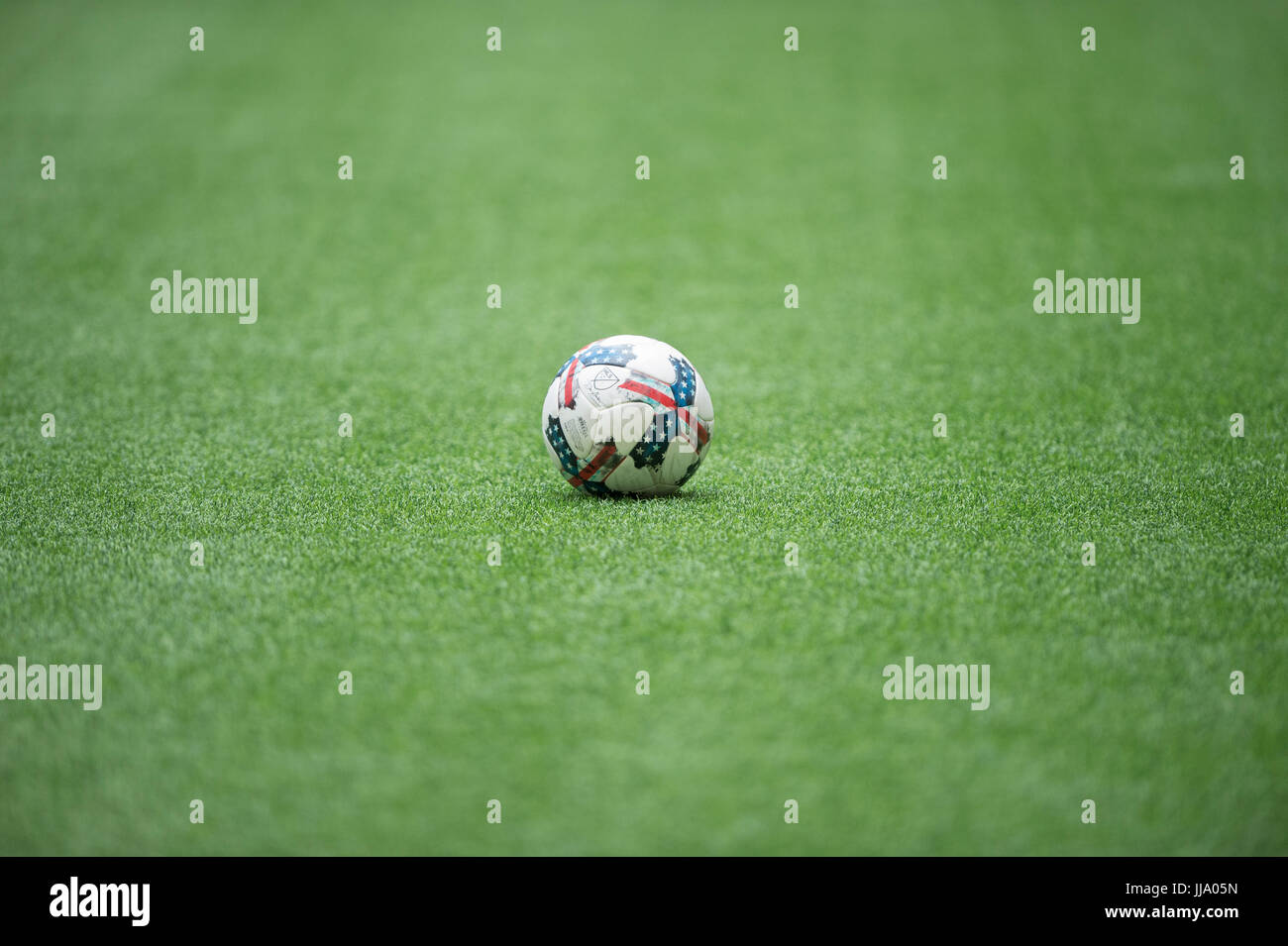 MLS soccer ball stationary on the pitch of artificial turf.. - Stock Image