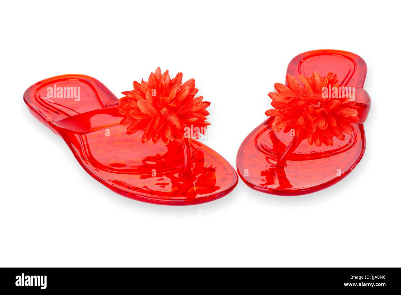 d47877a78 Red Flip Flops with Flower isolated on white background Stock Photo ...