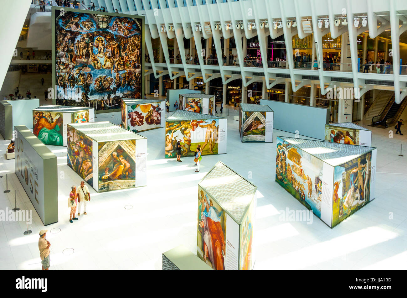 Exhibition in World Trade Center's Oculus shows Up Close Michelangelo's Sistine Chapel replicas Stock Photo