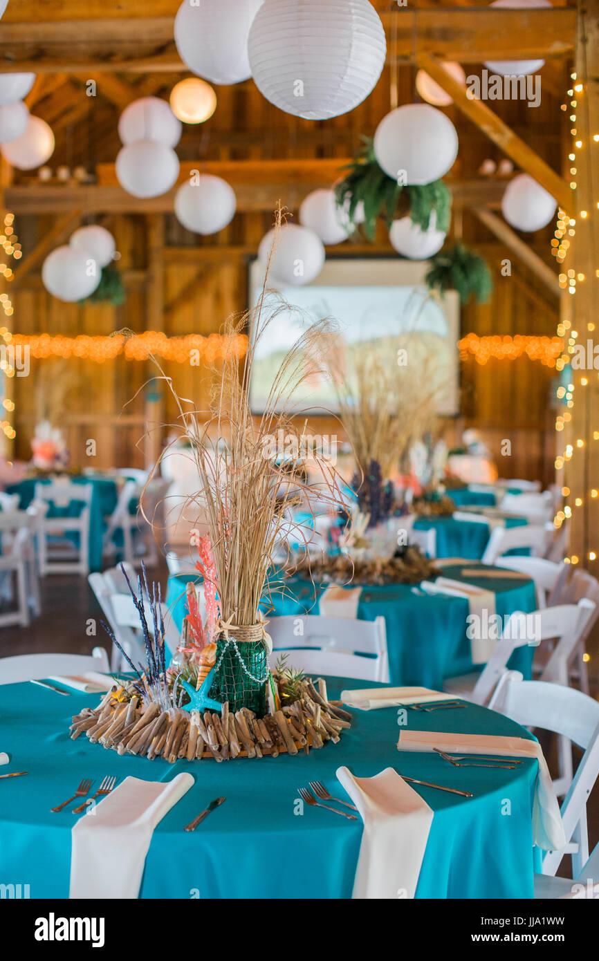 Cute Fun Handmade Beach Themed Ocean Wedding Reception