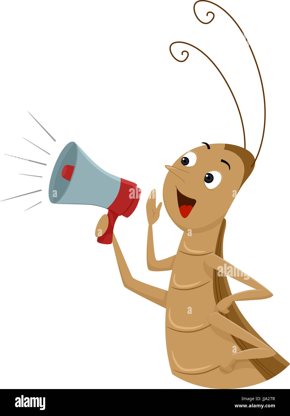 Animal Mascot Illustration Featuring a Cricket Holding a Megaphone Cheering Loudly in the Background - Stock Image