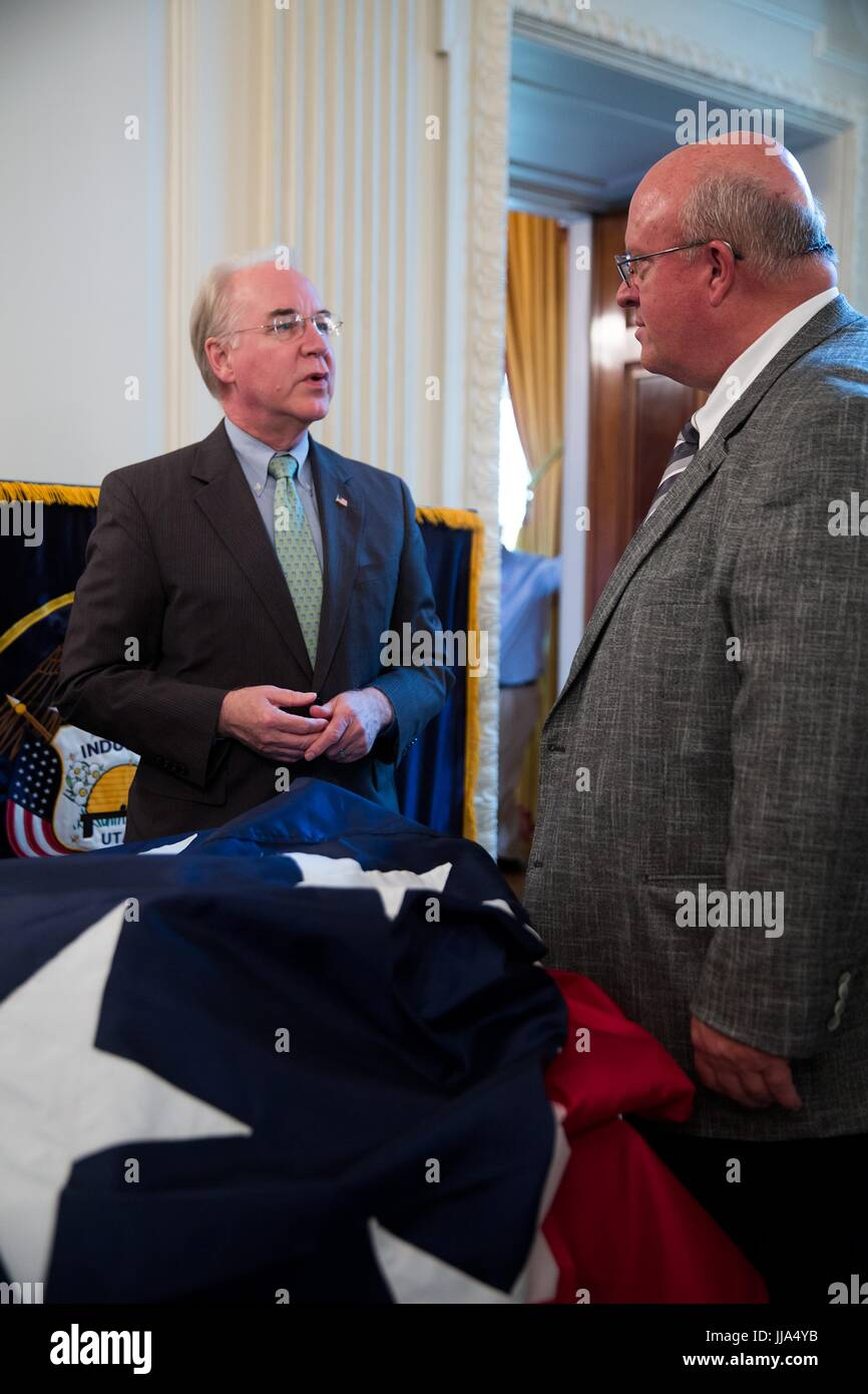 Washington, United States Of America. 18th July, 2017. U.S HHS Secretary Tom Price, left, chats with a manufacturer - Stock Image