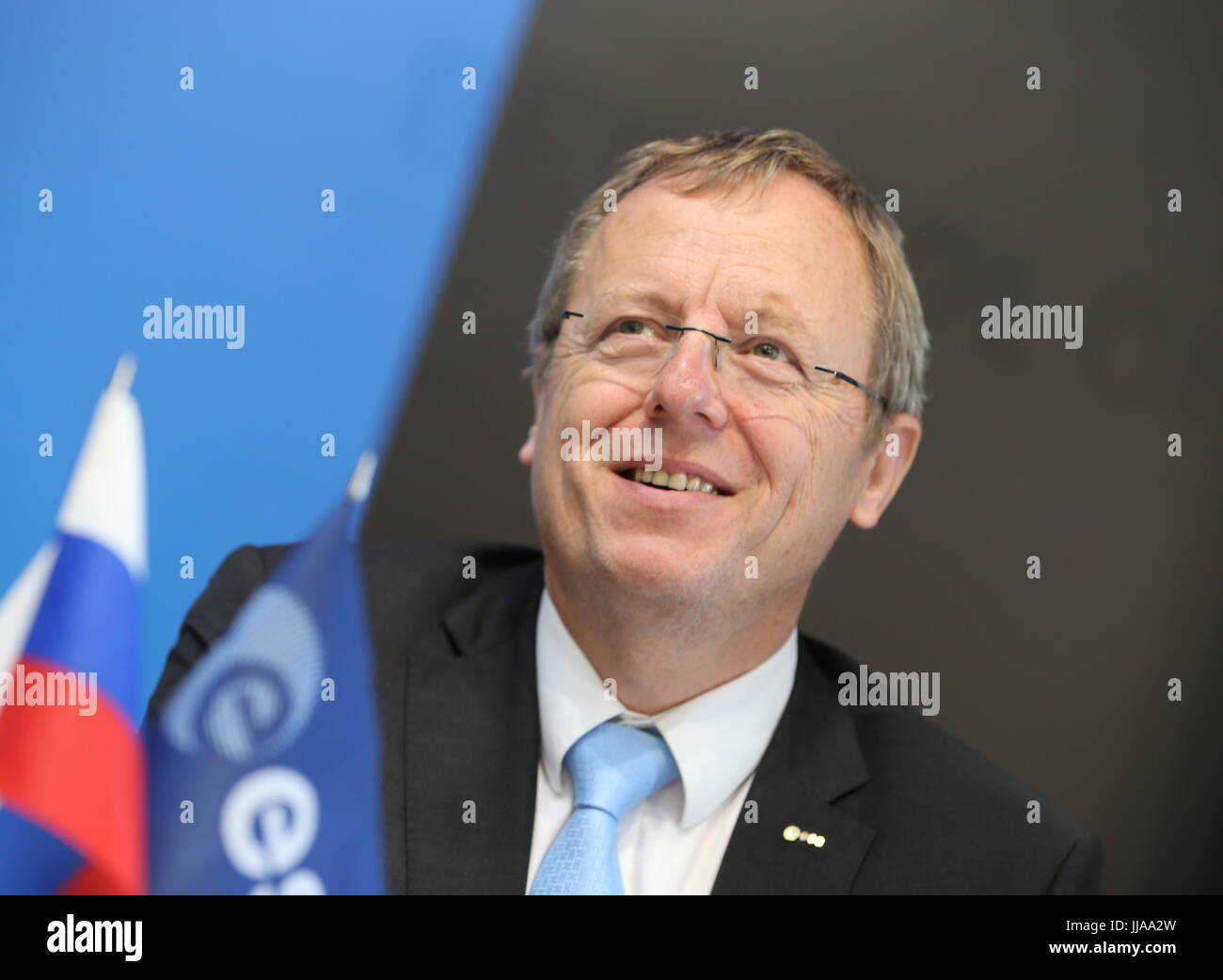 Moscow Region, Russia. 19th July, 2017. ESA (European Space Agency) Director General Johahn-Dietrich Woerner attends - Stock Image