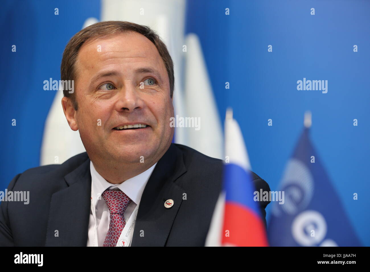 Moscow Region, Russia. 19th July, 2017. Roscosmos Director General Igor Komarov attends a ceremony to sign a cooperation - Stock Image