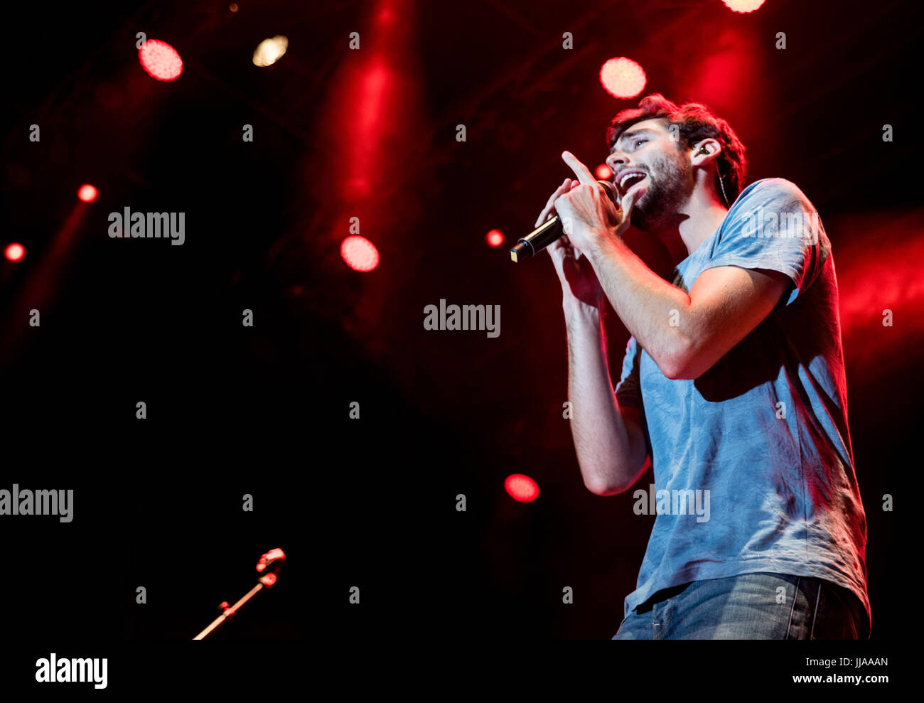 Grugliasco, UK. 18th July, 2017. The spanish pop singer Alvaro Soler performs at GruVilllage Festival in Grugliasco, Stock Photo