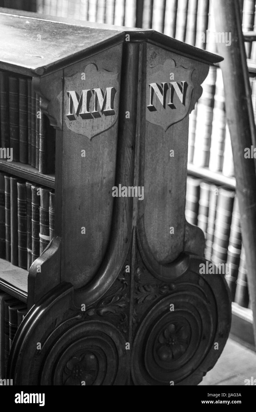 Side of Book Cabinet in the Long Room, Book of Kells, Trinity College, Dublin, Ireland - Stock Image