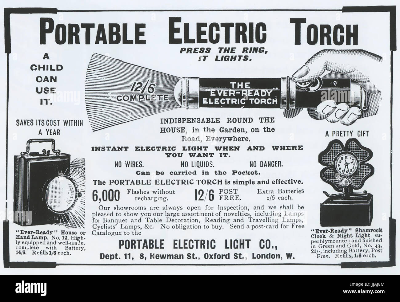 EVER READY A 1902 advert for Samuel Stern's portable electric torch. Stern was Chairman of the American Electrical - Stock Image