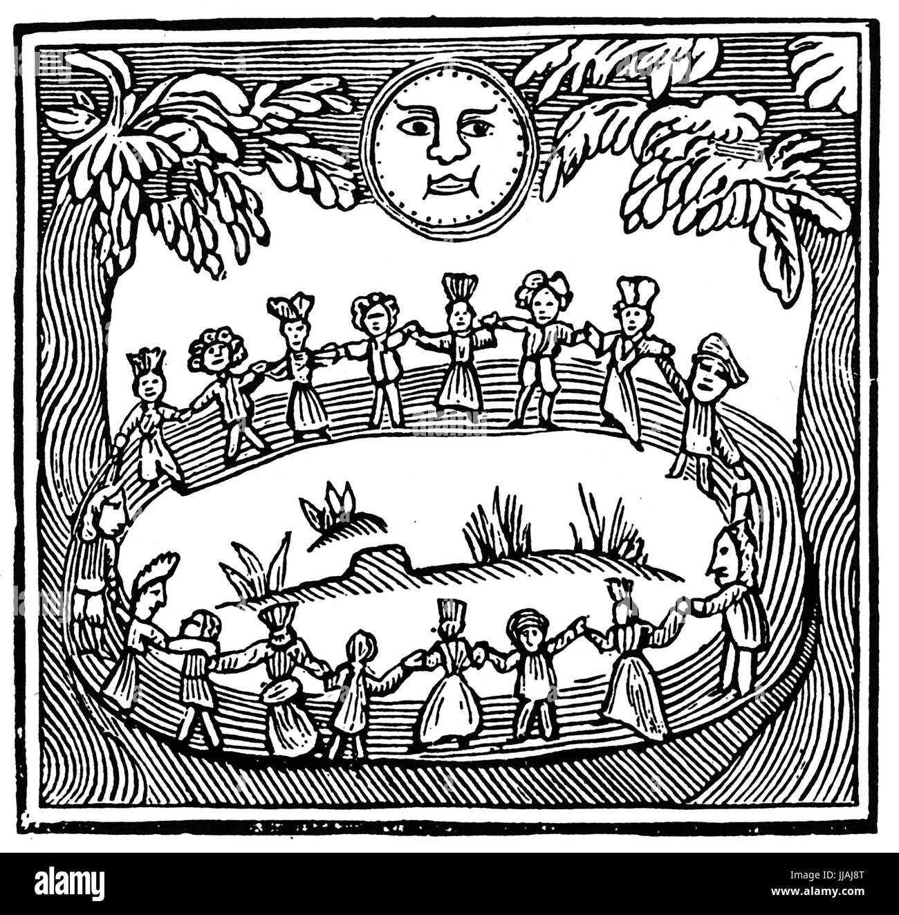 WITCHCRAFT Woodcut showing witches dancing in a forest from The Witch of the Woodlands published in 1655 - Stock Image