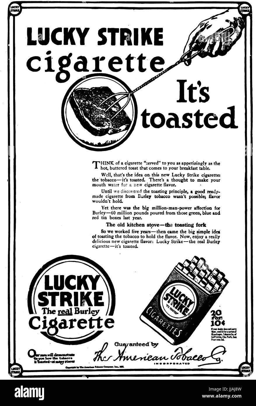 LUCKY STRIKE  A 1917 advert for the American cigarette brand - Stock Image