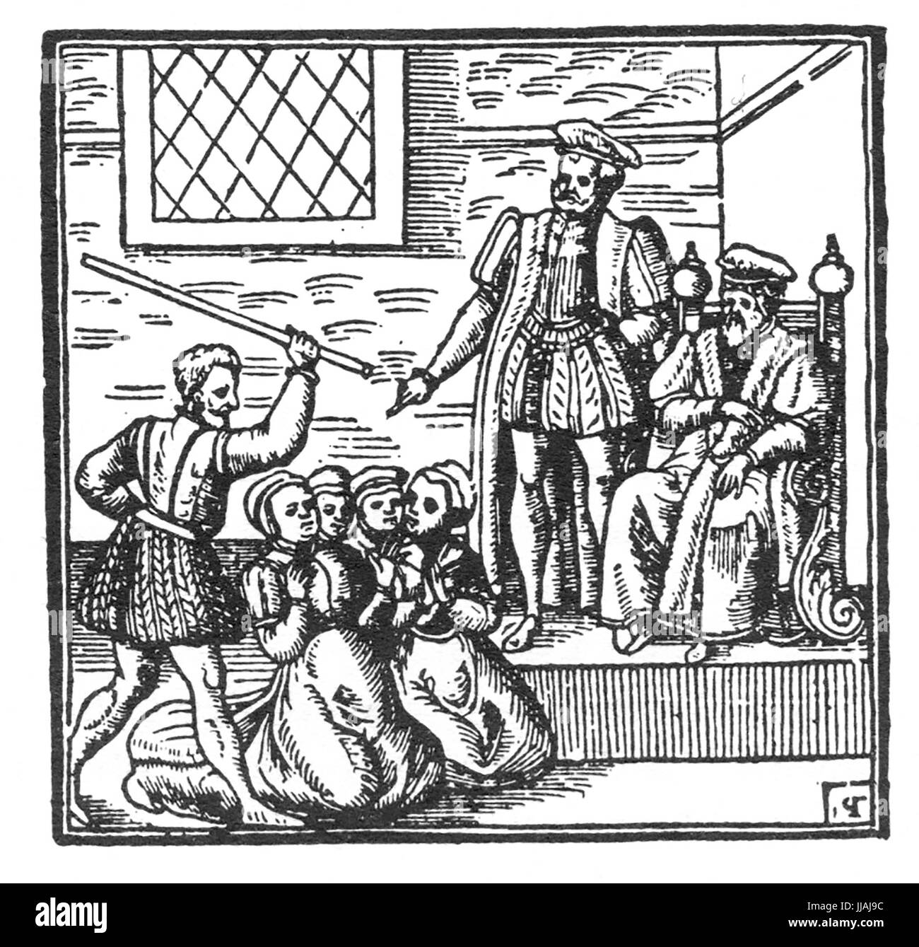 NORTH BEWICK WITCH TRIALS 1590-1592. King James VI of Scotland examines  some of the accused. Woodcut in his Daemonologie published in 1597