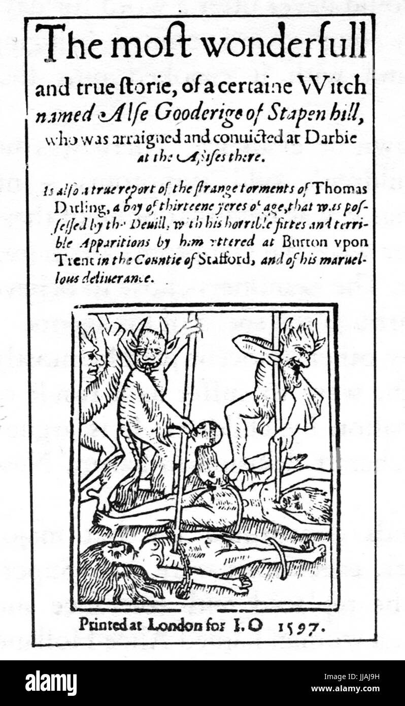 WITCHCRAFT  1597 pamphlet telling the story of the trial of Alice Gooderidge of Stapenhill, Derbyshire, for withcraft - Stock Image