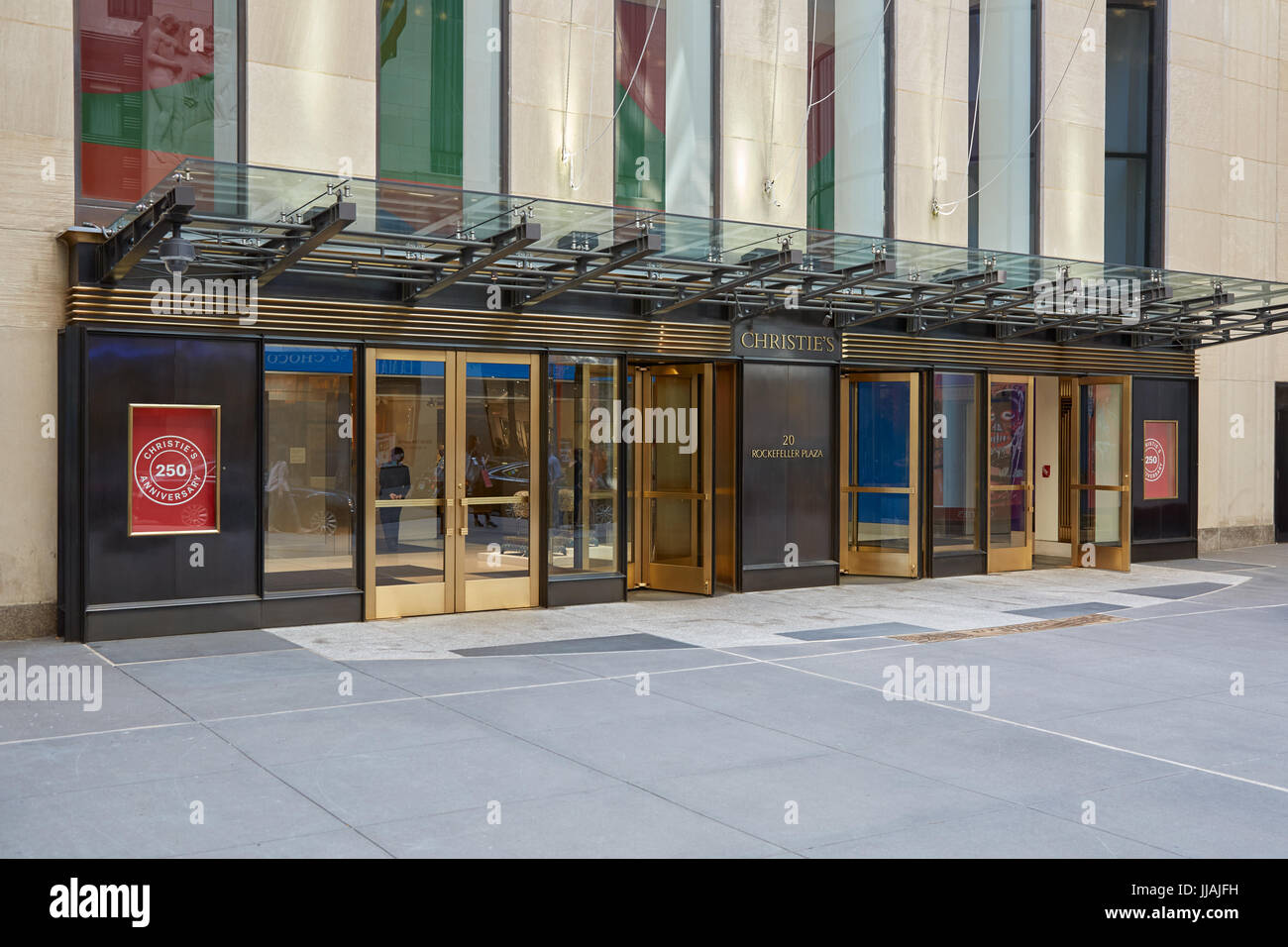 Christie's American branch entrance in Rockefeller Center in New York - Stock Image