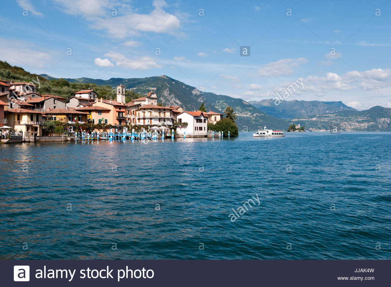 Carzano summer view, Monte Isola (or Montisola), Lake Iseo, Lombardy - Stock Image