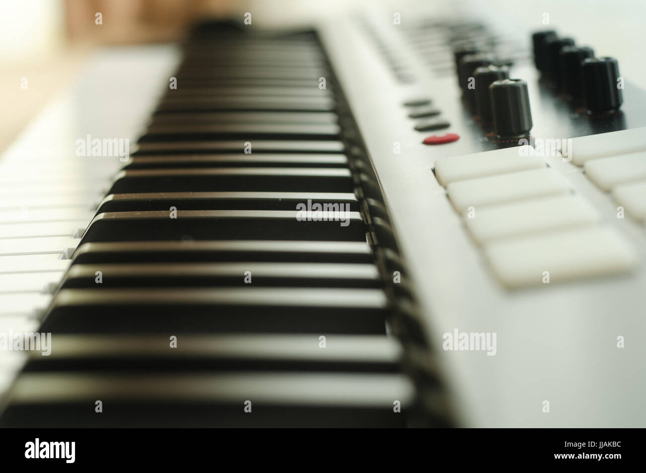 Horizontal photo keyboard of synthesizer - Stock Image