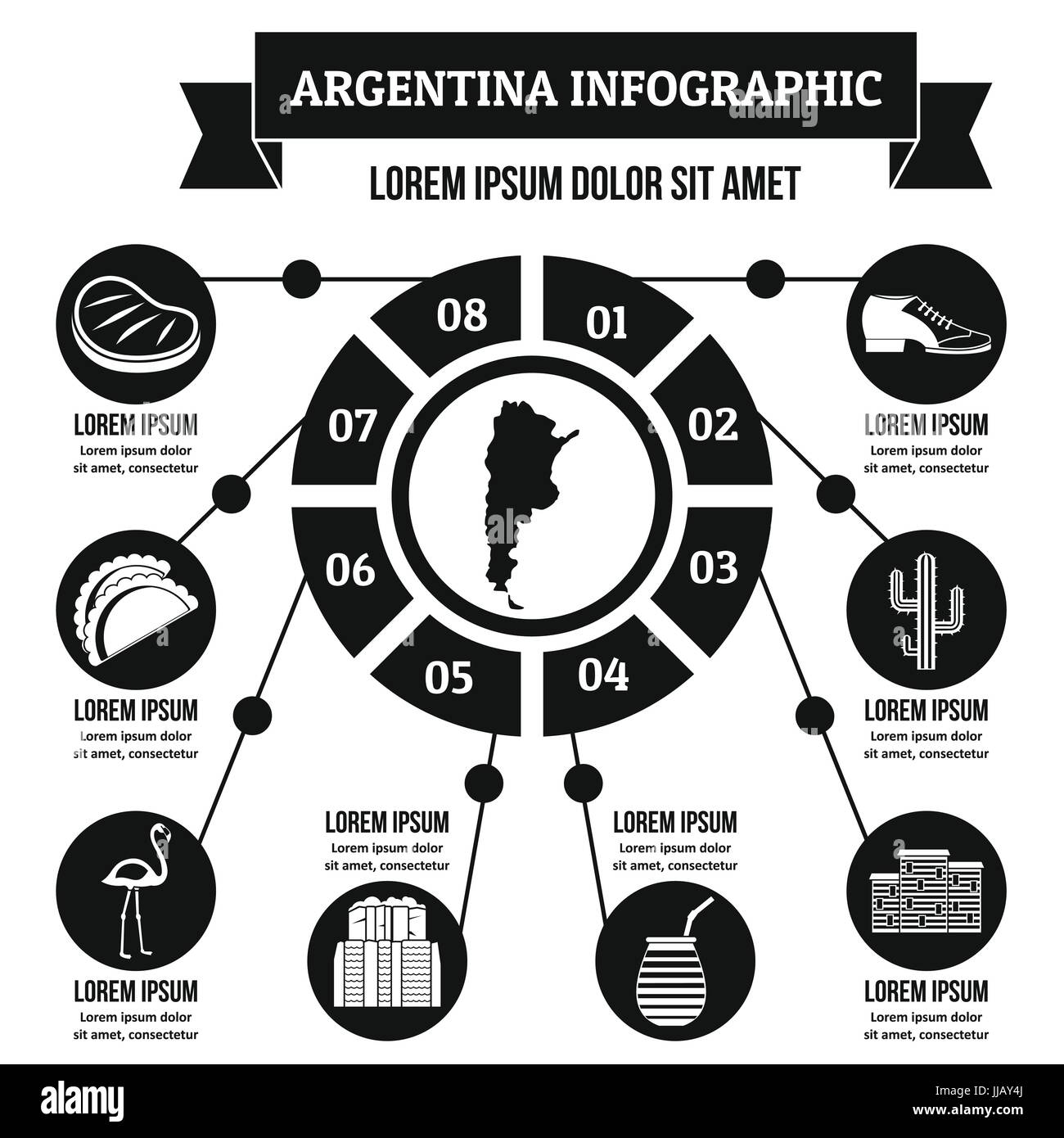 Argentina infographic concept, simple style - Stock Image