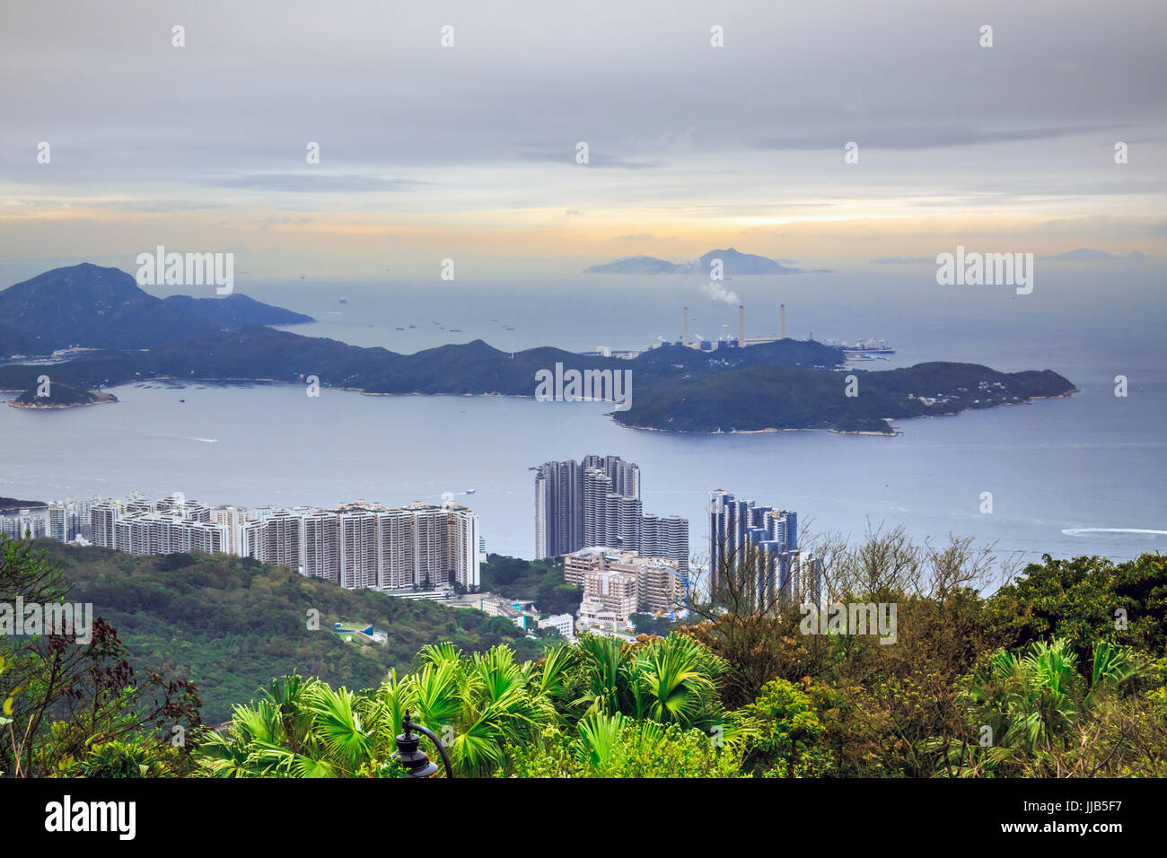 View of Residence Bel-Air, Lamma Power Station and South China Sea Horizontal line from the peak, hong kong, China - Stock Image