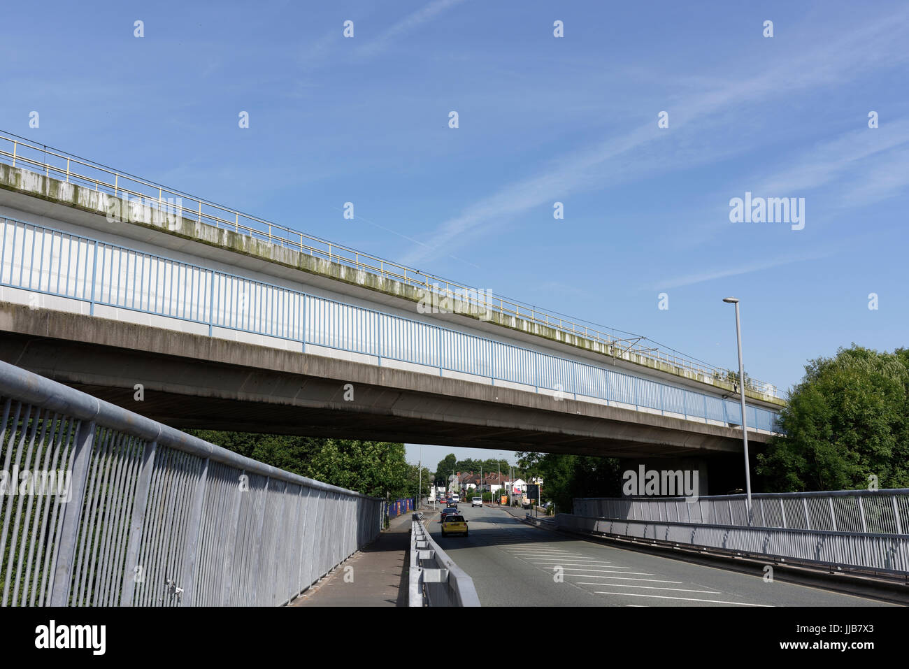 Manchester Metrolink bridge over the A56 road in bury lancashire Stock Photo