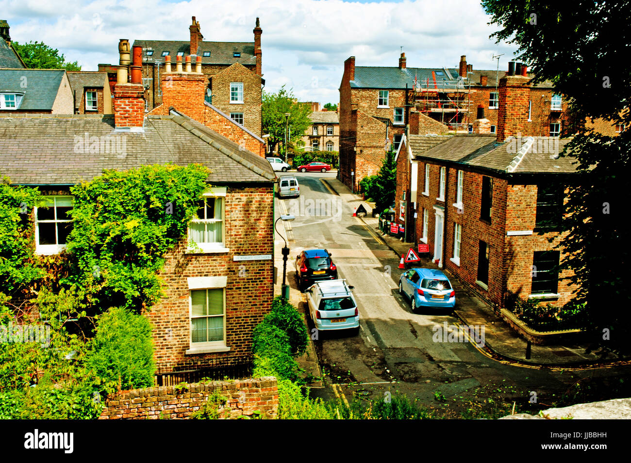 Dewsbury cottages from city wall, York - Stock Image