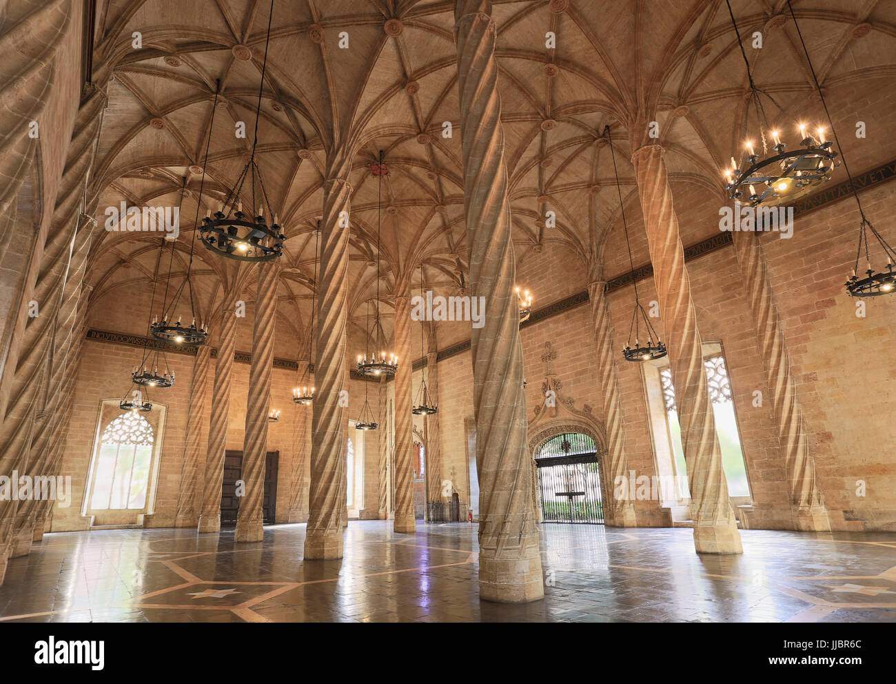VALENCIA, SPAIN - JULY 24, 2017: The Llotja de la Seda is a late Valencian Gothic style civil building and is a Stock Photo