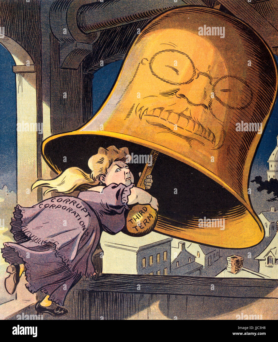 Curfew shall not ring tonight!  Illustration shows a woman labeled 'Corrupt Corporations' in a bell tower, - Stock Image