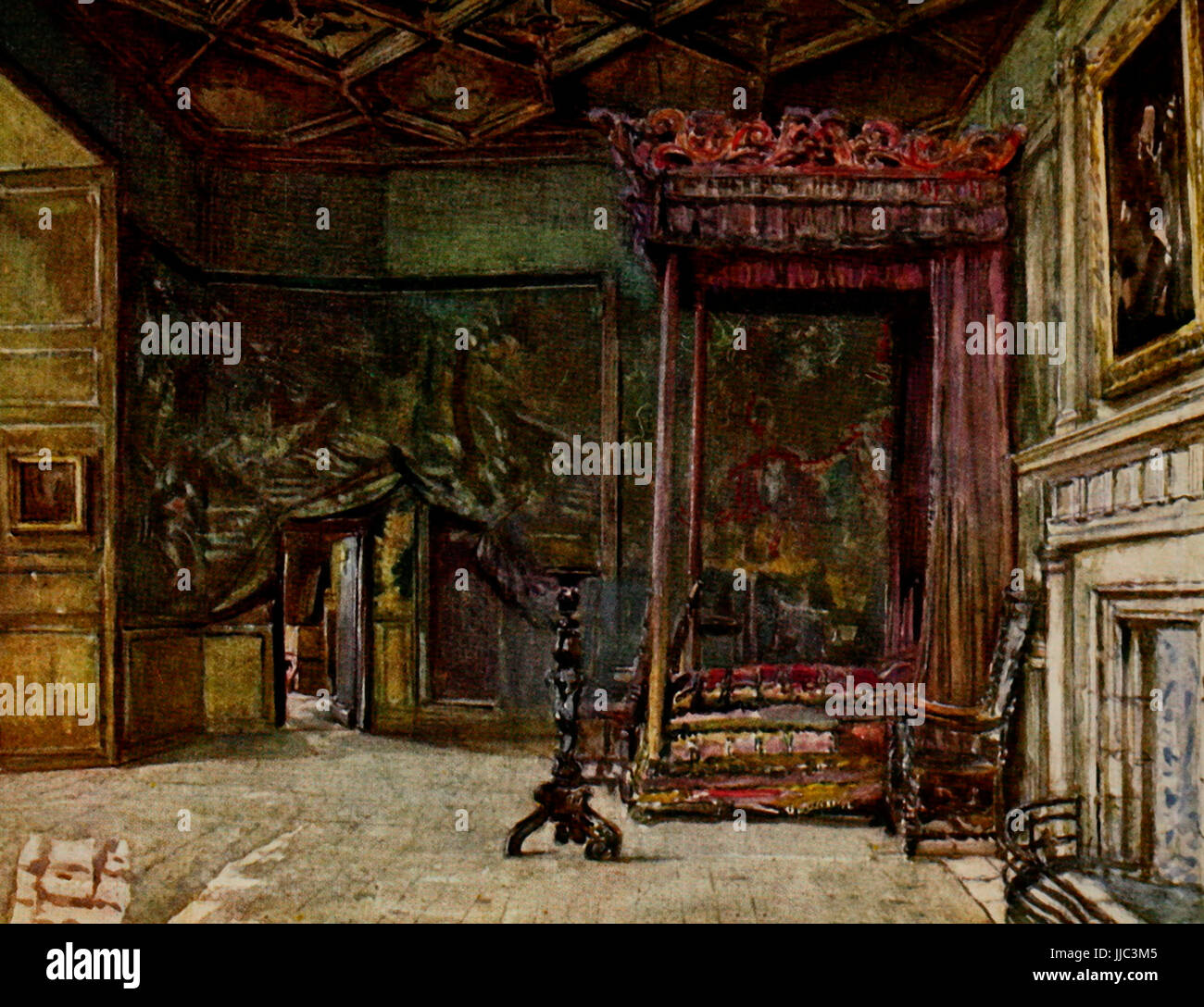 The Apartments of Mary, Queen of Scots, in Holyrod Palace - Edinburgh, circa 1908 Stock Photo