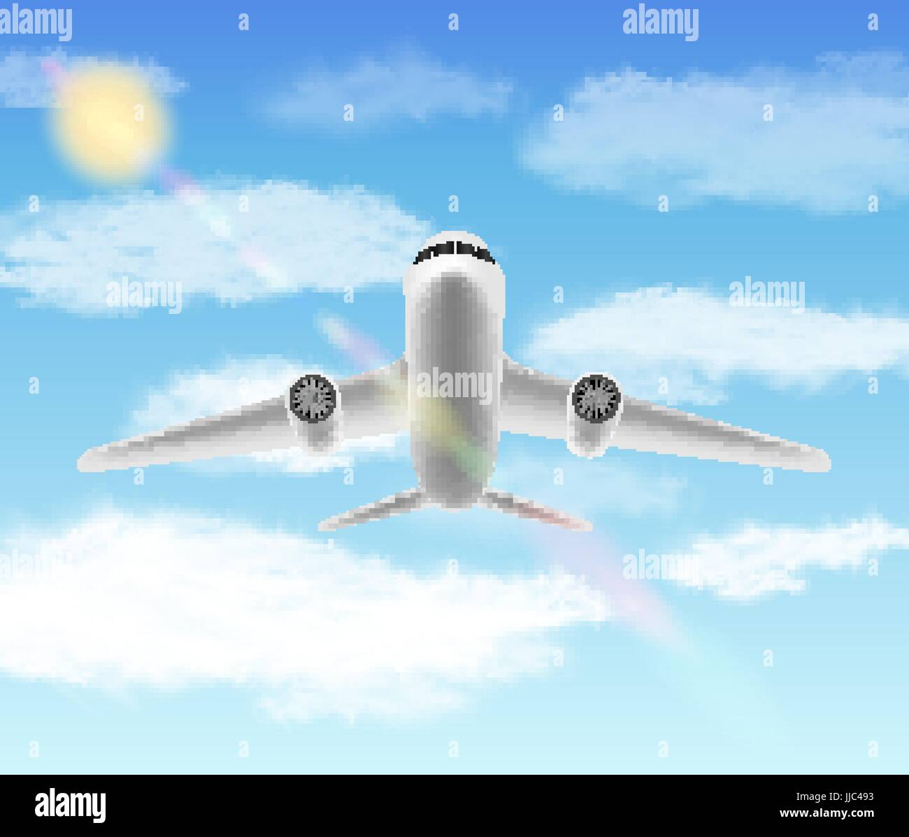 white aero plane flying in a sky - Stock Vector