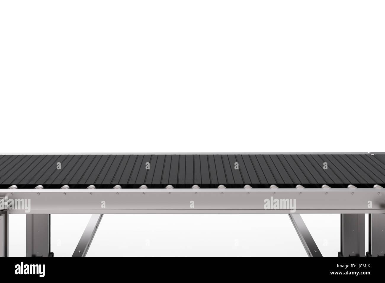 3d rendering rubber conveyor belt isolated on white Stock
