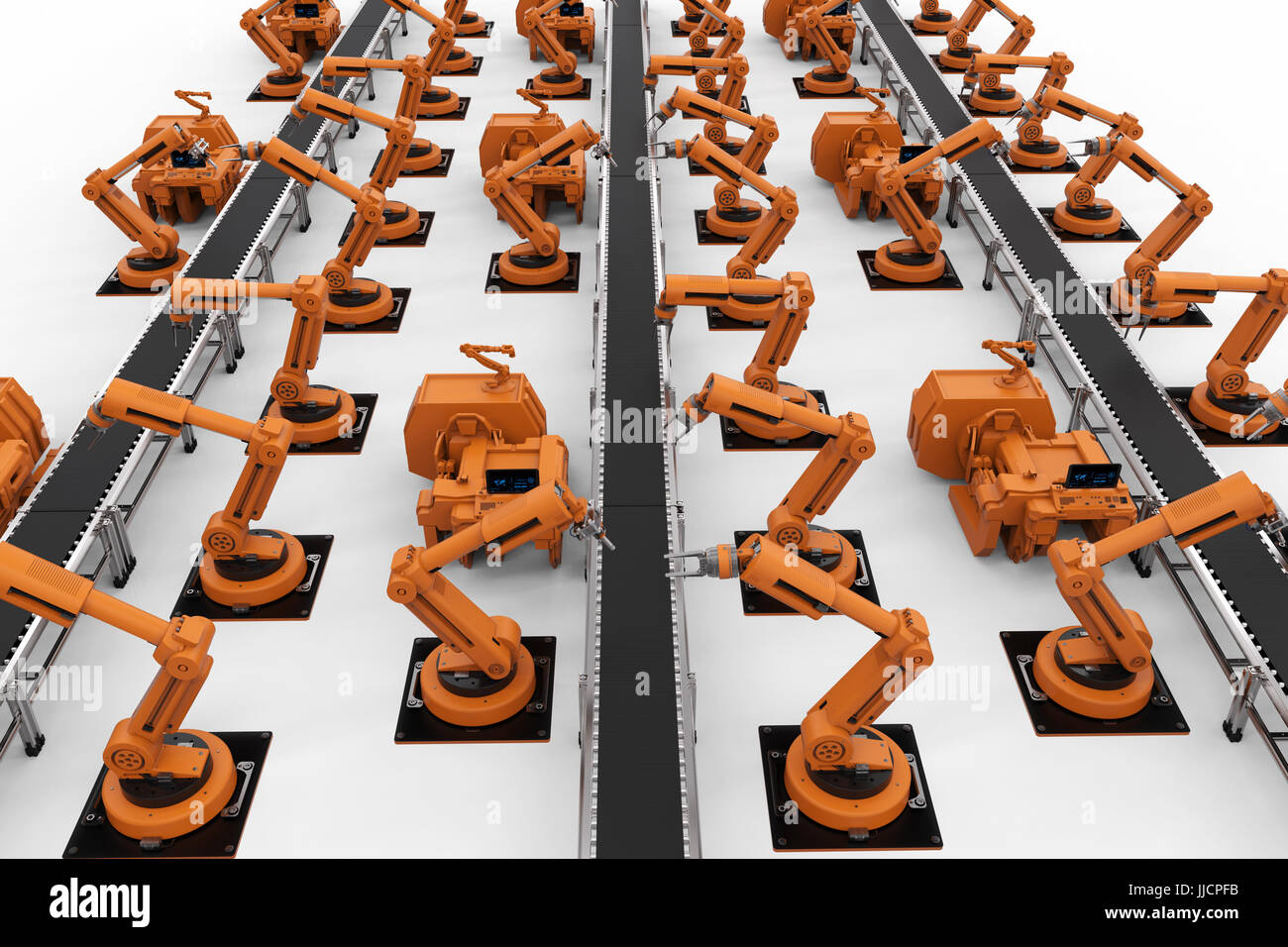 3d rendering robot arms with conveyor line - Stock Image