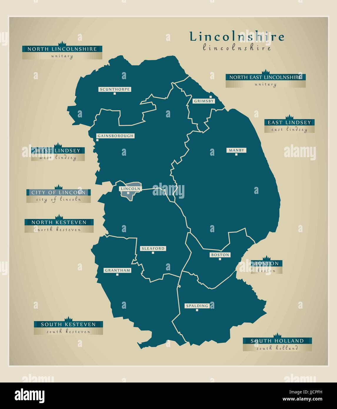 Modern Map Lincolnshire county with district labels UK