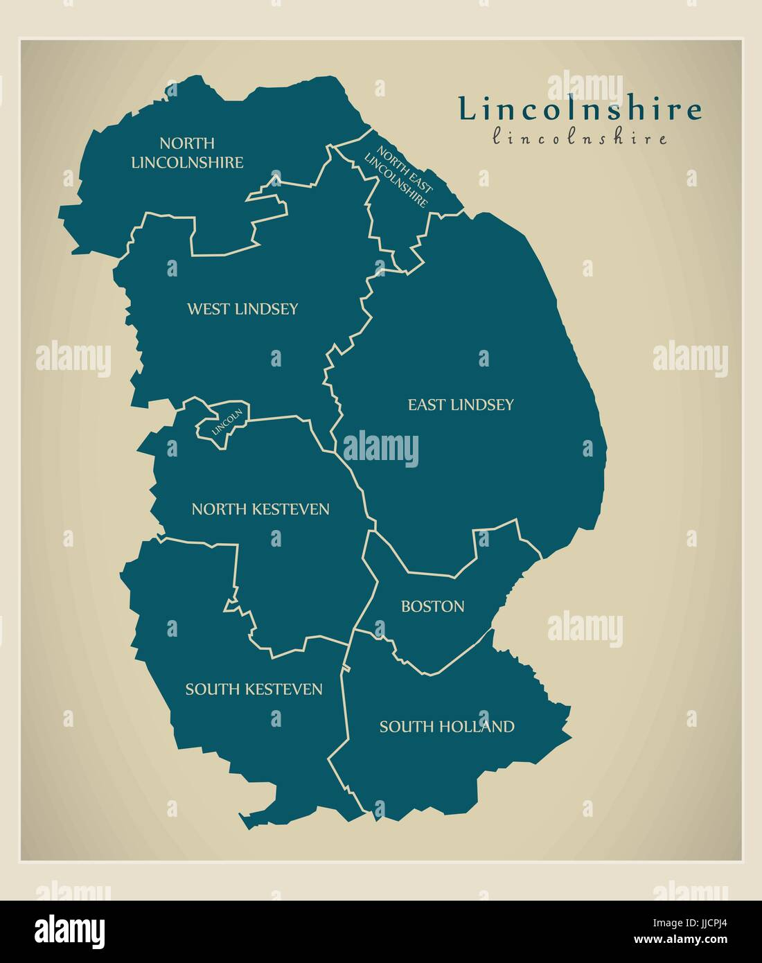 Modern Map - Lincolnshire county with detailed captions UK illustration - Stock Vector
