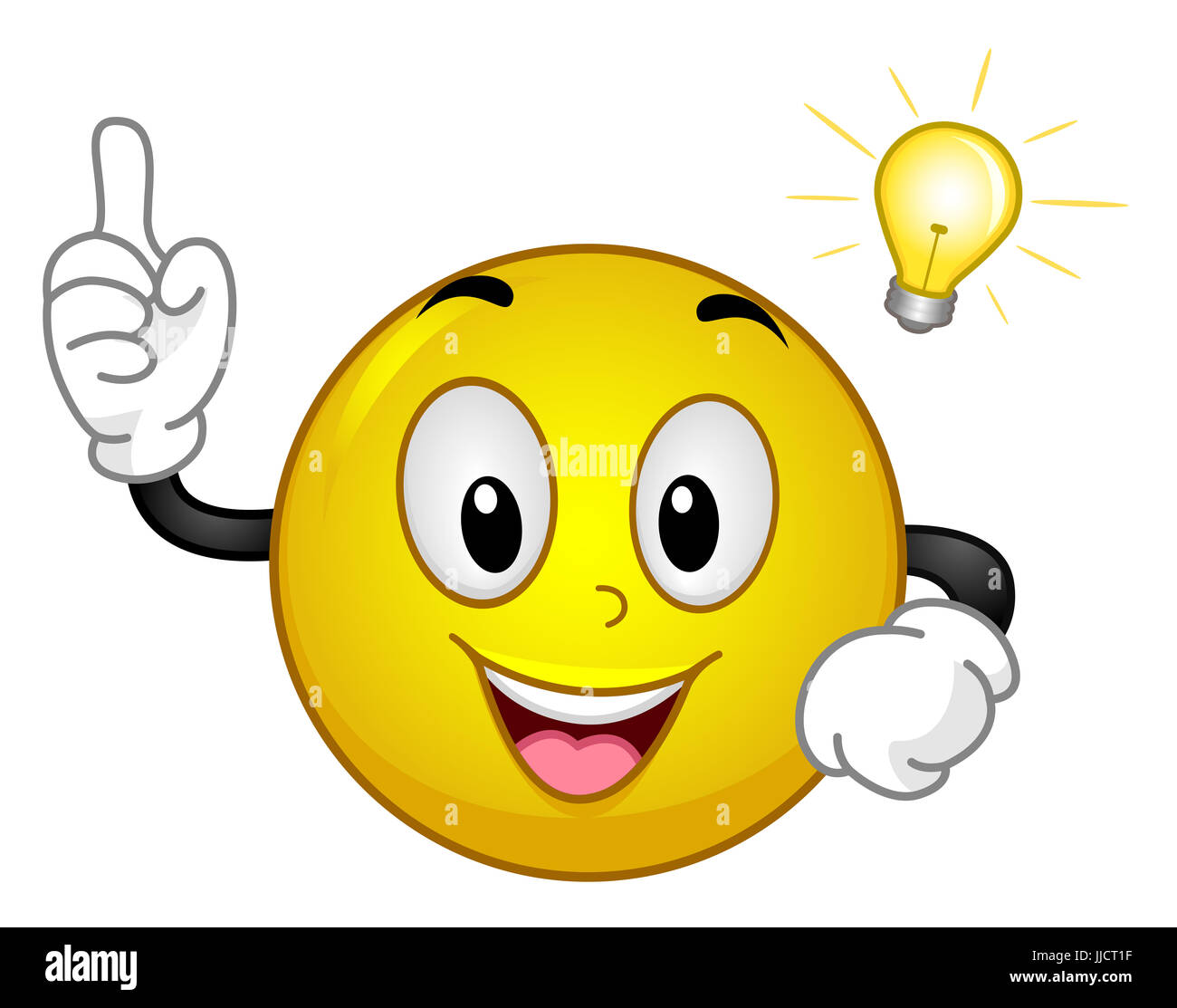 mascot illustration of an excited yellow smiley having an aha moment