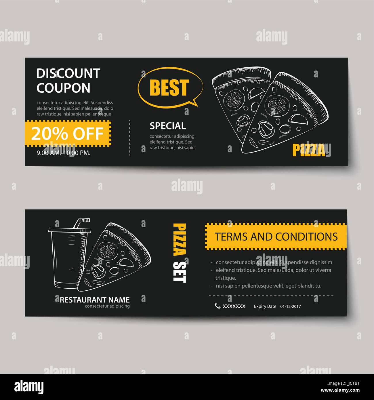fast food coupon discount template flat design stock vector art