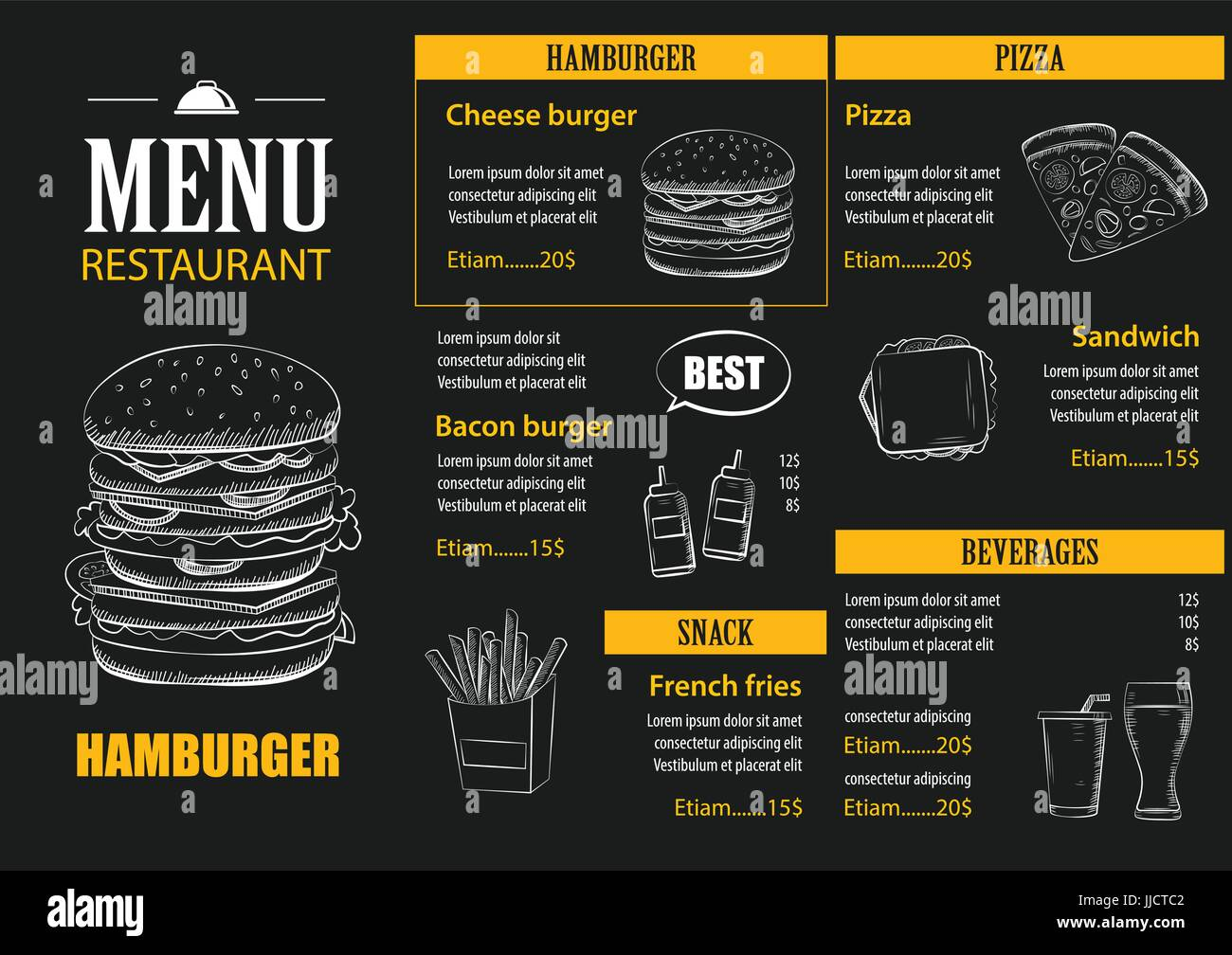 vector restaurant cafe menu with hand drawn graphic template flat ...