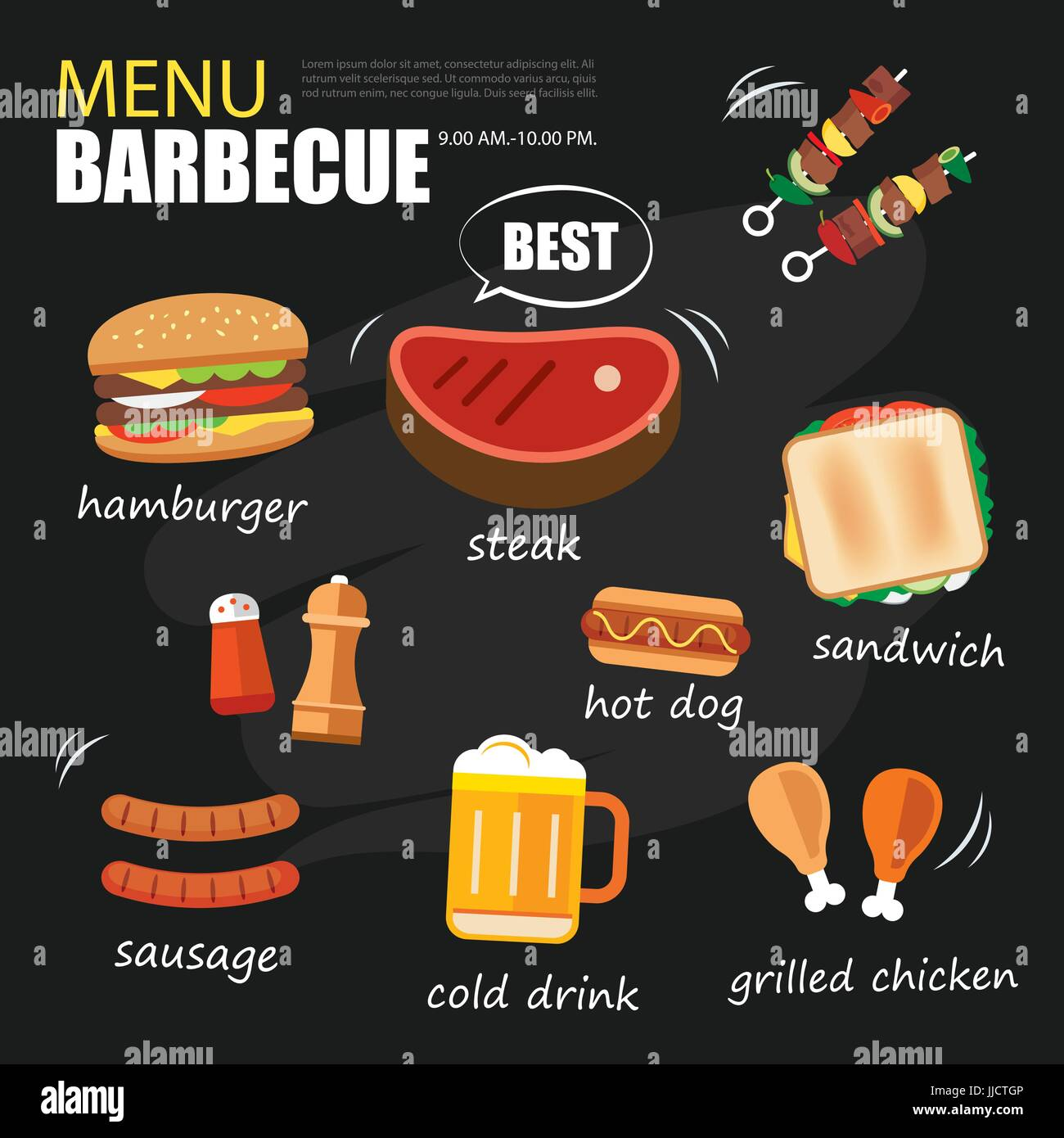 barbecue menu party. BBQ invitation template menu design set Stock ...