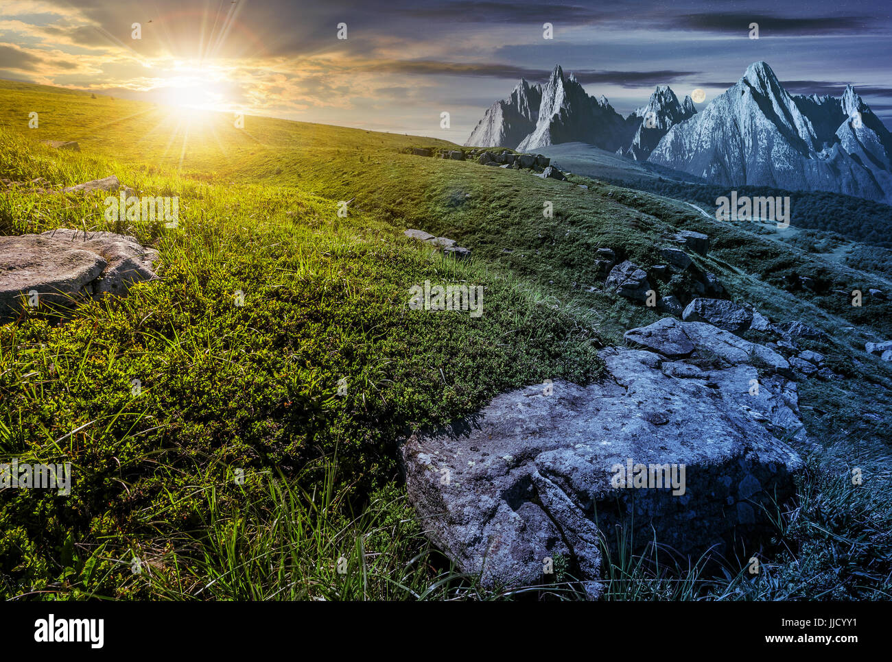 Day and night time change concept in High Tatra mountain summer landscape. Sun and moon over meadow with huge stones - Stock Image